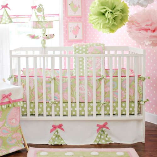 My Baby Sam 4 Piece Pixie Baby Crib Bedding Set, Pink front-227055