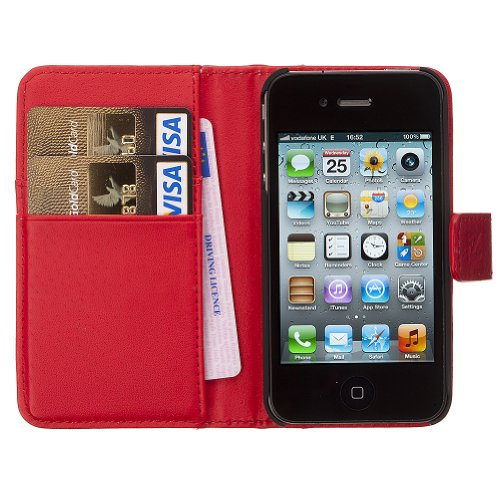 FZ Womens Leather Wallet and iPhone 4 4S Case plus Card Holder in Hot Red