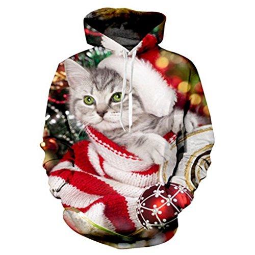 3D Christmas Cat Hoodie Sweatshirt