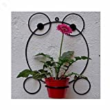 Wrought Iron Wall Bracket With Metal Bucket - Frog - Black & Red