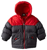 Pacific Trail - Kids Baby-Boys Infant Two Tone Puffer with Fleece Lining, Charcoal/Red, 18 Months