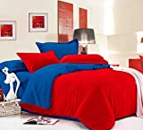 Dexim Exclusive Solid Poly Satin 4 Piece Bedding Set With Reversible Duvet Cover (Red/Blue)