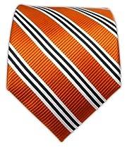 100% Woven Silk Tangerine Bar Striped Tie