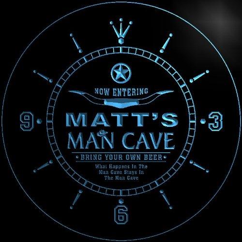 ncpb0331-b MATT'S Man Cave Cowboys Beer Bar 3D LED Neon Sign Wall Clock