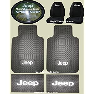 7PC Jeep Logo Floor Mats Seat Covers Steering Wheel Cover complete combo set