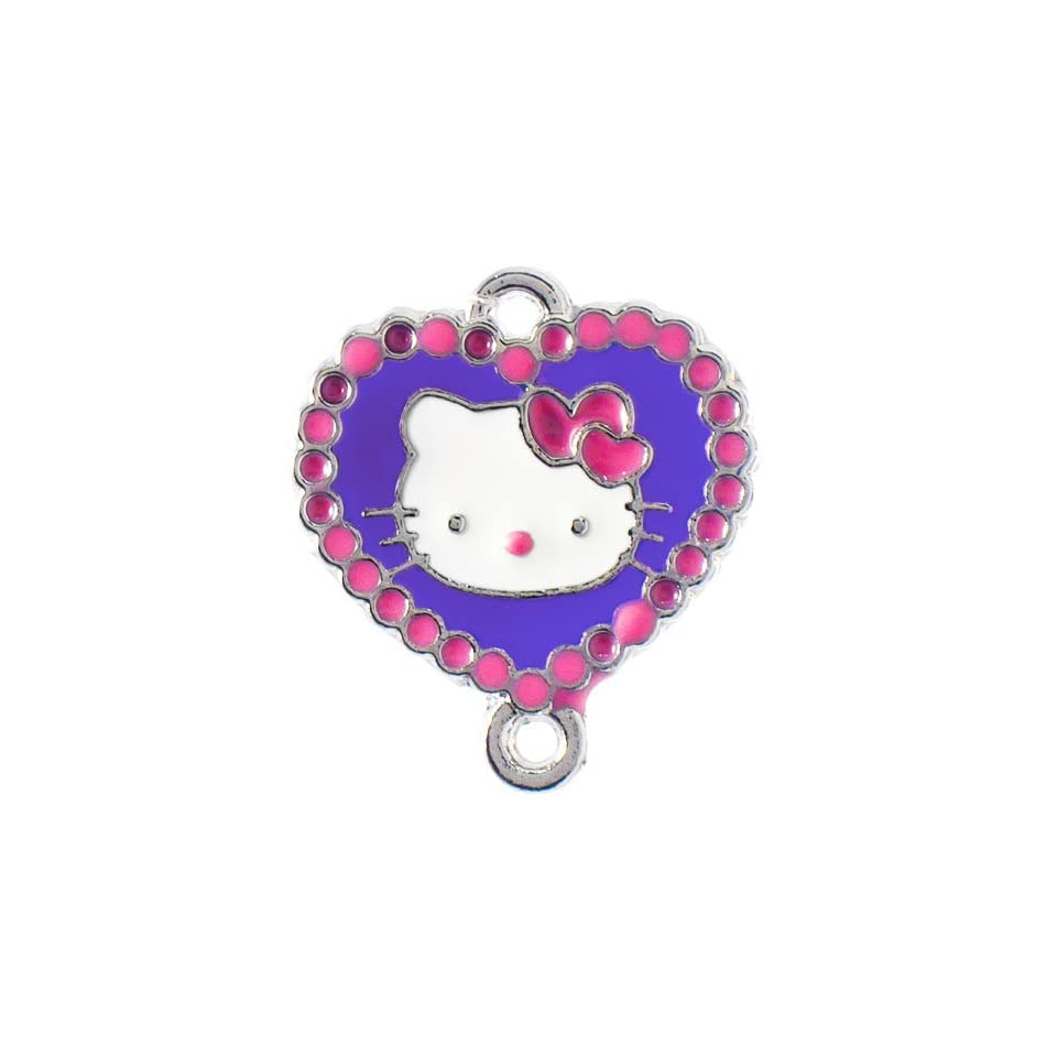 12X DIY Jewelry Making Heart bordered Hello Kitty enamel charm   Pink/Plum