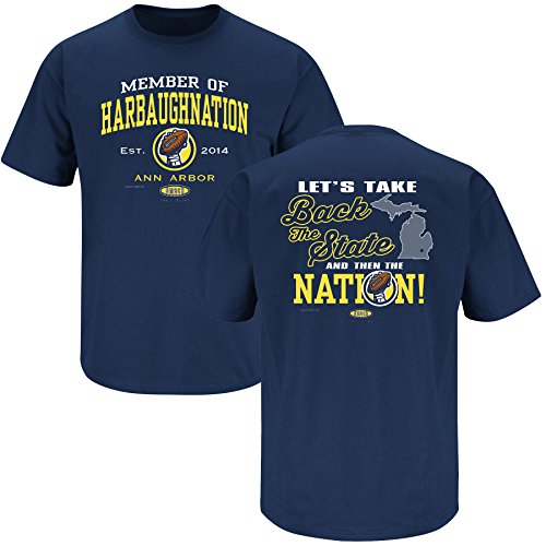 Michigan Wolverines Fans. Harbaughnation Navy T-Shirt (XL)