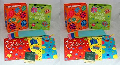 Set of 10 All Occasion Gift Bags with Gift Wrapping Tissue