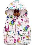 ナナコレクション Nana_Collection 秋 キッズ 子供 キュート 柄 フリル フード ポケット 中綿 ダウン ベスト ホワイト 150cm