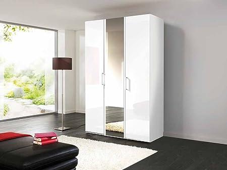 3-trg. Drehturenschrank in Polarweiß, Weißlack und Spiegel, Maße: B/H/T ca. 150/216/58 cm