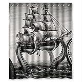"Cool Kraken Octopus Pattern Deep Sea Monster Art Waterproof Bathroom Shower Curtain 60""(w) x 72(h)"" inches"