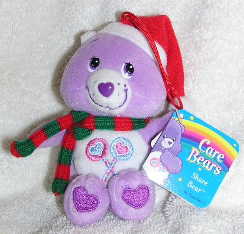 "Care Bears 5"" Plush Share Bear Christmas Ornament With Scarf And Santa Hat front-976347"