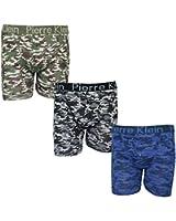 Mens 3 Pack Pierre Klein Underwear Camouflage Fashion Jersey Button Fly Boxer Shorts