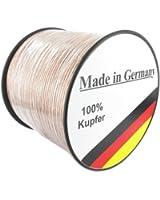Media-Halle Câble pour enceinte en cuivre véritable fabriqué en Allemagne Transparent 2 x 1,5mm² 20 m