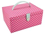 Button It Sewing Box in a Hot Pink and Whote Polka Dot Cotton with a Duck Egg Fabric Lining, Large