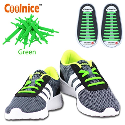 Coolnice® No Tie Shoelaces for Adults and Kids DIY 20pcs-Silicone Lazy shoestring-Color of Green