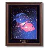 Pisces Fish Zodiac Sign Astrology Home Decor Wall Picture Cherry Framed Art Print