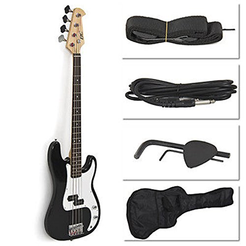 black-electric-bass-guitar-including-strap-guitar-case-amp-cord-and-more