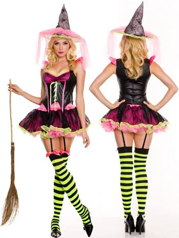 Pink Witch Costume - X-Large - Dress Size 14-16