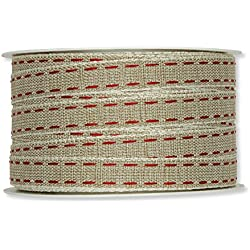 "FloristryWarehouse Natural 0.5"" Fabric Ribbon with Red Linen Lockstitch Design x 33ft Roll"