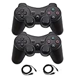 Molgegk 2 Packs Wireless Bluetooth Controller for PS3 Playstation 3 Double Shock - Bundled with USB Charge Cord (Black and Black)
