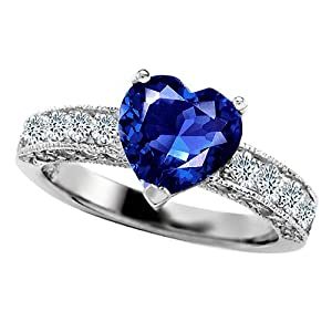 3.00 cttw 925 Sterling Silver 14K White Gold Plated Lab Created Heart Shape Sapphire Engagement Ring Size 8