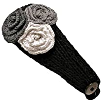Luxury Divas Black Crocheted Headband With Three Knit Flowers