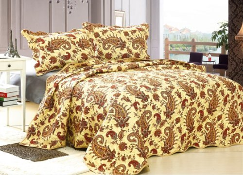 High Quality New 3 Pcs Golden Paisley Queen Size 100% Polyester Bedspread Quilt Coverlet Ensemble Set By Big 7 Home front-990265