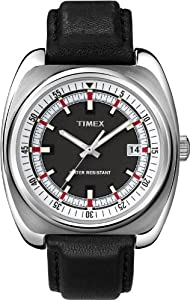 Timex Men's T2N393ZL Vintage Originals Black Leather Band Black Dial Watch