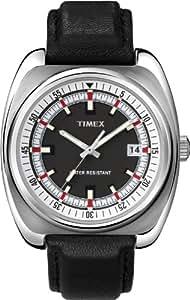 Timex Men's T2N393ZL Vintage Originals Black Leather Band Black Dial Watch