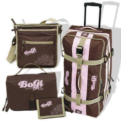 BoGi BAG Trolley 4er-Set Brown/Rosa Trolley + shoulder bag + money case + Beauty Case 27860819 by INSPIRION