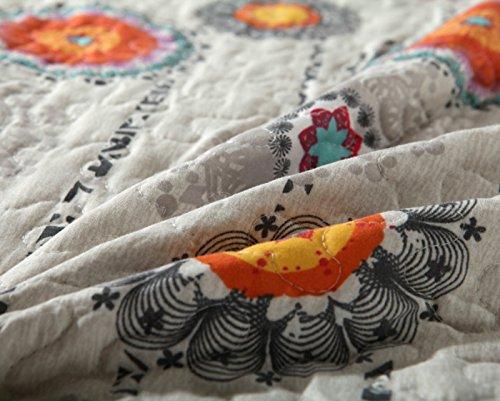 DaDa-Bedding-Bohemian-Constellations-Reversible-Patchwork-Quilt-Bedspread-Set-Multi-Grey-Orange