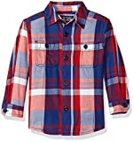 The Childrens Place Boys Long Sleeve Twill Woven Shirt, Orange/Blue, 18-24MONTH