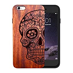JuBeCo Natural Solid Bamboo Wood Case for iPhone 6/ 6s, Half skull-Rose wood