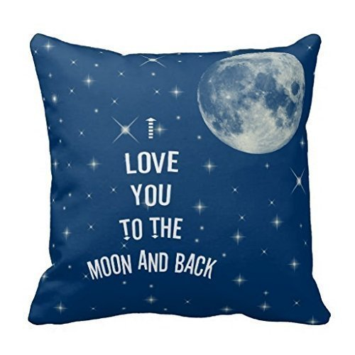 Miss Pillow Decorative 18 x 18 Inch Cotton Pillow Cover Cushion Case, I Love You To The Moon And Back Throw Pillow