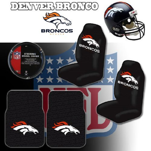 NFL Denver Broncos Car Seat Covers Floor Mats And Steering Wheel Cover Set