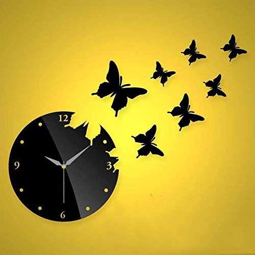 Miihome 3D Black Butterfly Clock Removable Diy Acrylic Mirror Wall Decal Wall Sticker Decoration For The Bedroom Tv Wall In The Sitting Room Sofa