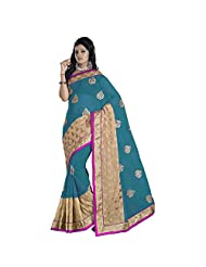 Evoking Blue Colored Embroidered Georgette Shimmer Saree
