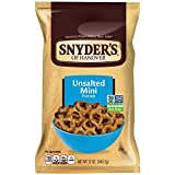 Snyder's of Hanover Pretzels, Mini Unsalted, 12 Ounce (Pack of 12)