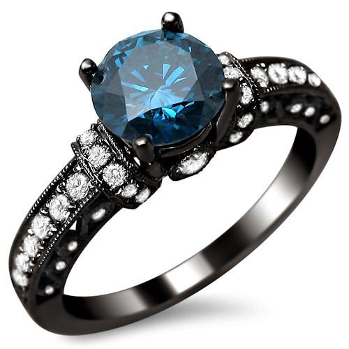 1 35ct Blue Round Diamond Engagement Ring 14k Black Gold Rhodium Plating Over