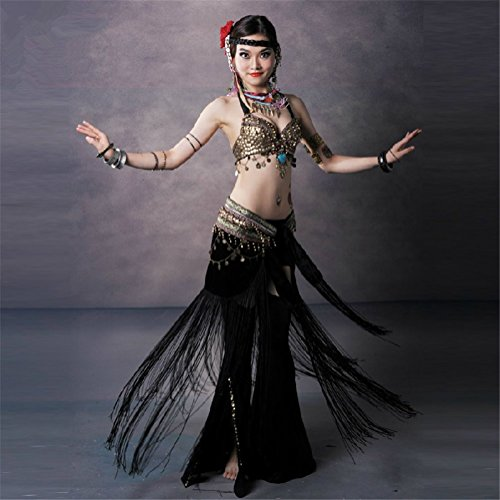 SNW Professional Belly Dance Costume Set 3pcs Golden Coins Bra/Pants/Fringed Hip Scarf dancer costumes Stage performance Party dance clothing Sportswear Dance Costumes as a gift