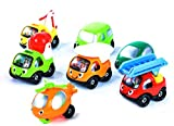 Happy Fleet Fun - Smiley Cars Set for Toddlers - Colorful Gift Set with 7 Super Cute Cars, Trucks and Even a Helicopter