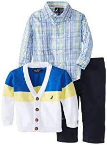 Nautica Baby-Boys Infant 3 Piece Colorblock Sweater Shirt Pant Set from Nautica