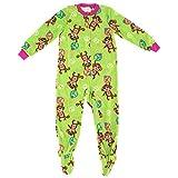 Komar Kids Girls XS-XL Bright Green Monkey Footed Pajamas