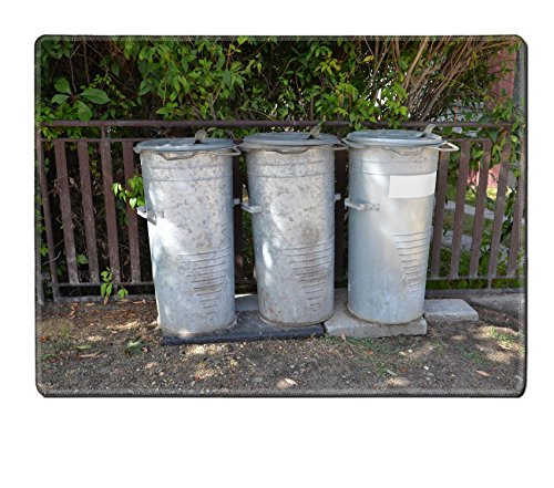 MSD Placemat Image ID 27016586 Three old vintage steel trash cans bin (Vintage Garbage Can compare prices)