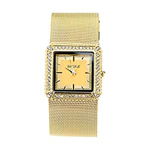 Ladies Fashion Diamond Circular Dial Mesh Belt S quare Gold Movement Watch