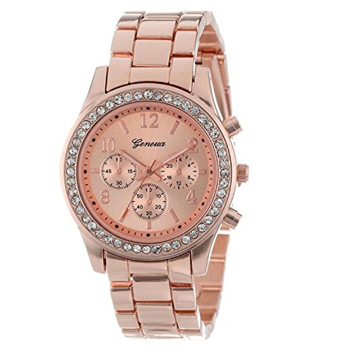 Aokdis (Tm) Unique Faux Chronograph Quartz Classic Round Ladies Women Crystals Watch (Rose Gold)