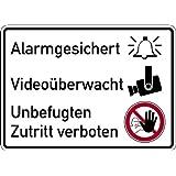 Schild Alu Alarmgesichert, Videoüberwacht, Unbefugten Zutritt verboten 250x350mm
