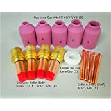 Accessory Kit Cup-Collet-Gas Lens-Gasket 040-1/16-3/32-1/8 for TIG Welding Torch 17, 18 & 26 TAK6