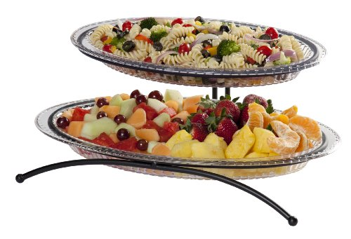 Cheap CreativeWare 2-Tier Buffet Server, Includes 1 Small and 1 Larger Platter (45BUF02-BLK)